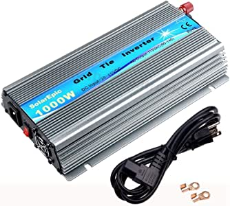 1000W Grid Tie Inverter MPPT Pure Sine Wave DC 20V-45V to AC 110V for 24V/36V Solar Panel System