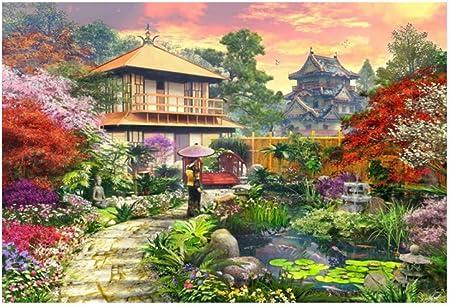 Ronda completa Broca 5D Diy Diamante Bordado Jardín Japonés Pintura de punto de Cruz Mosaico Decoración 50X60 cm: Amazon.es: Hogar