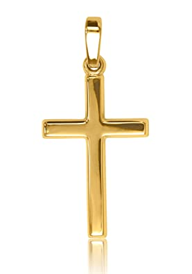 MyGold Kreuz Anhänger (Ohne Kette) Gelbgold Weißgold 375/585 / 750 Gold (9 Karat / 14 Karat / 18 Karat) 25mm x 12mm Glanz Ket