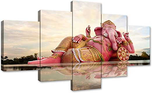 5Pcs Ganesha Elephant Hindu God Canvas Print Painting Wall Art Home Decor