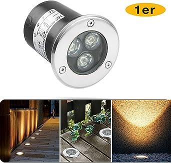 1 x 3W Foco Empotrable de Suelo LED Foco Empotrado Blanco Cálido 230V AC IP67 Resistente al Agua 270LM Lámpara de Iluminación de Jardín para Exteriores (1pcs): Amazon.es: Iluminación