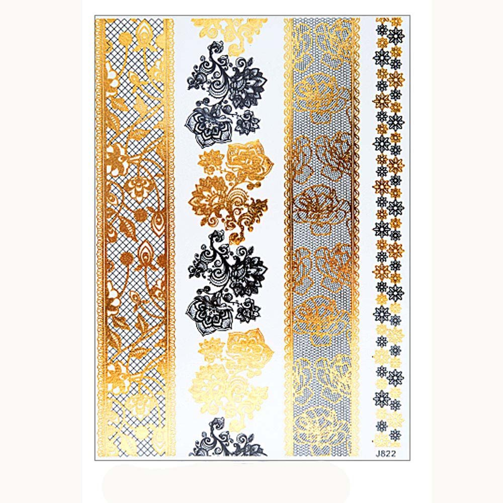 Metallic Temporary Tattoos for Women Glittery Waterproof Tattoos Stickers Removable Art Paper Fake Tattoos Party Favors for Women & Girls 1PC (F)
