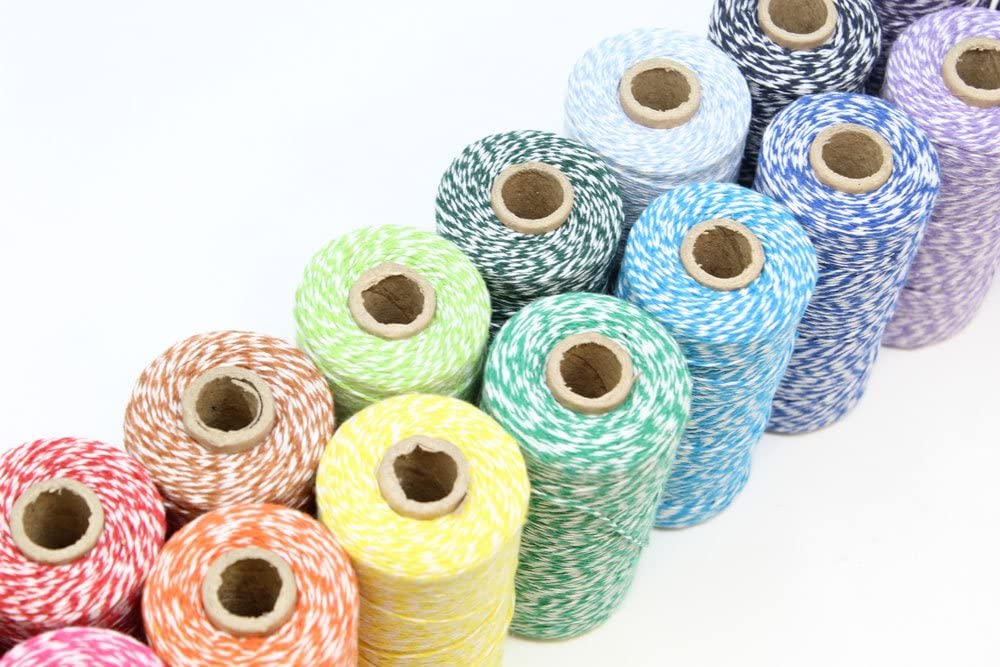 Decorative Bakers Twine for DIY Crafts and Gift Wrapping Just Artifacts ECO Bakers Twine 240-Yards 4Ply Striped Black