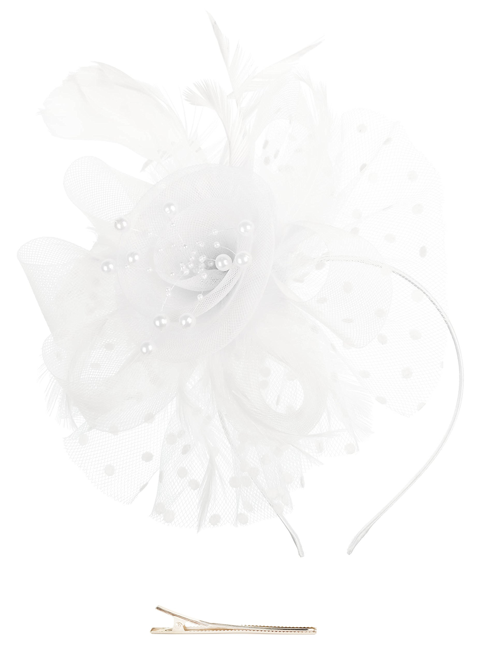 Zivyes Fascinators Hat for Women Tea Party Headband Kentucky Derby Wedding Cocktail Flower Mesh Feathers Hair Clip
