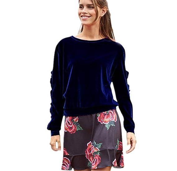 La Mujer Invierno Casual Blusa Cuello Redondo Camiseta Interior Terciopelo Oficina Top tee, ❤️Longra
