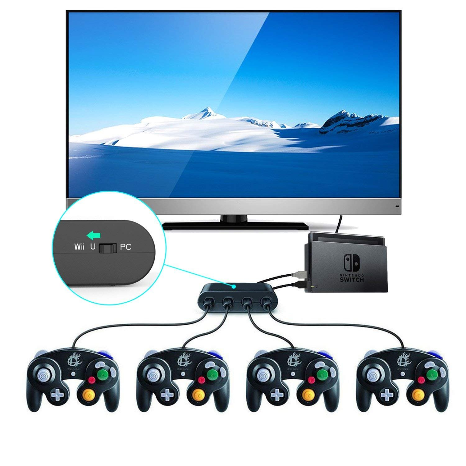 Gamecube Controller Adapter. Super Smash Bros Wii U Gamecube Adapter for Pc, Switch. No Driver Need and Easy to Use. 4 Port Black Gamecube Adapter(Improved Version) by Cloudream (Image #3)