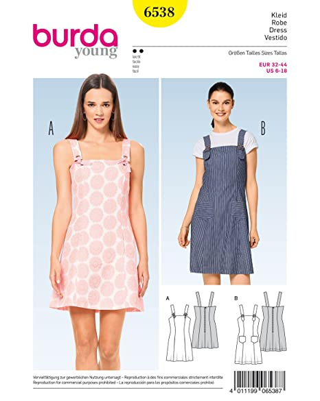 BURDA SEWING PATTERN MISSES\' DUNGAREE WITH BUCKLES PINAFORE SIZE 6 ...