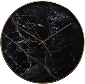 Cloudnola Structure Metal Wall Clock and Wall Decor, Black Marble Print and Gold Rim, 15.7 inch Diameter, Battery Operated Quartz Movement, Silent Non Ticking
