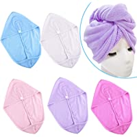 SIQUK 5 Pieces Hair Towels Turban Towel Hair Wrap Drying Towel Quick Dry Microfiber Hair Twist Towel Head Wrap Wrapped Bath Cap for Women Girl