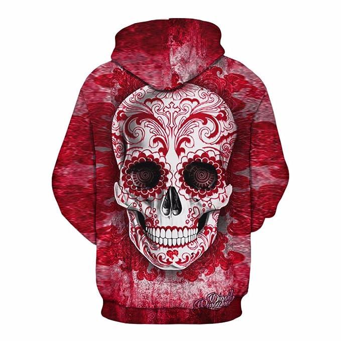 Cinnamou Sudadera con Capucha Impresa 3D Unisex Cráneo Estampados Jersey de  Moda para su Regalo de San Valentín Camisetas de Manga Larga Blusa de la ... 56b144be9631d