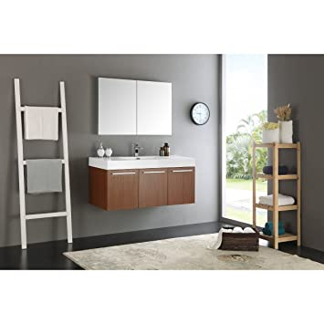 Fresca Vista 48u0026quot; Teak Wall Hung Modern Bathroom Vanity With Medicine  Cabinet
