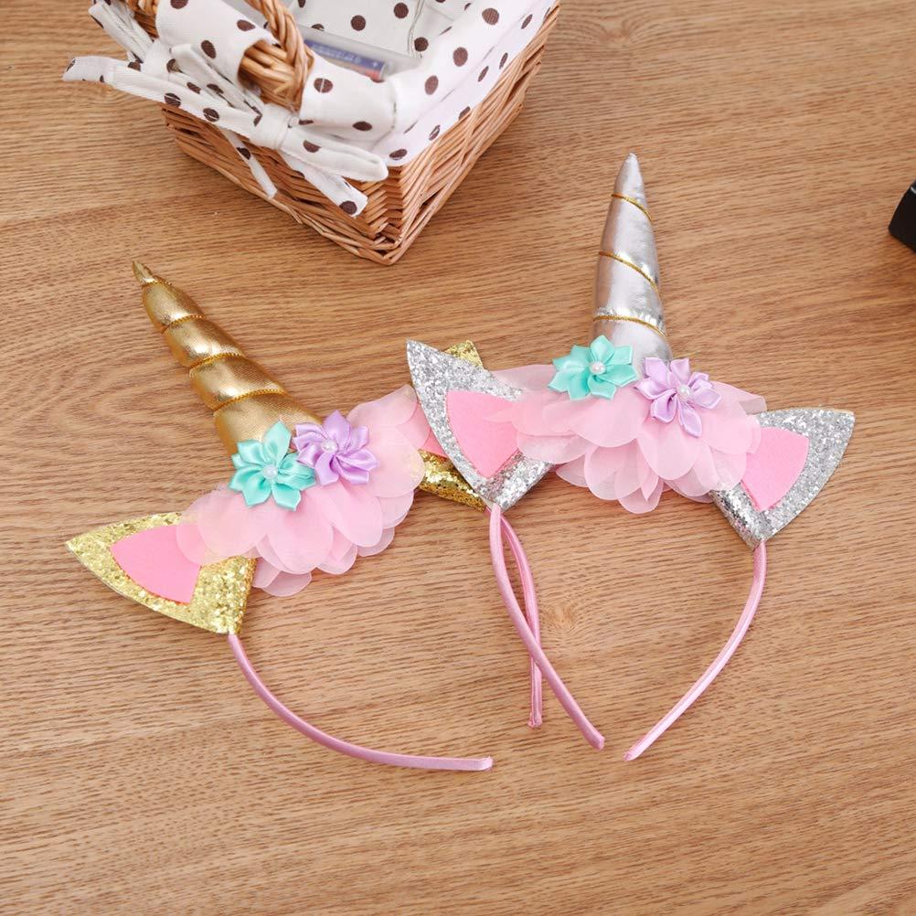 Amazon.com: LUOEM Unicorn Birthday Headbands Gold Horn Headband Girl Birthday Outfit Squishy Cheeks Glitter Horn Headband Flowers Headwear Accessory Party ...