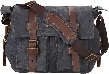 8a21fa07f2e2 Kattee Leather Canvas Camera Bag Vintage DSLR SLR Messenger Shoulder Bag  Dark Gray