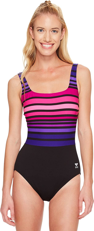 TYR Ombre Stripe Aqua Controlfit 女性用水着 B01K4ENLLG 24|068 Black/Purple
