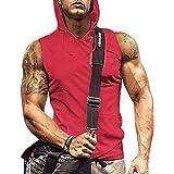 iWoo Mens Workout Hooded Tank Tops Sleeveless Gym Hoodies Shirts