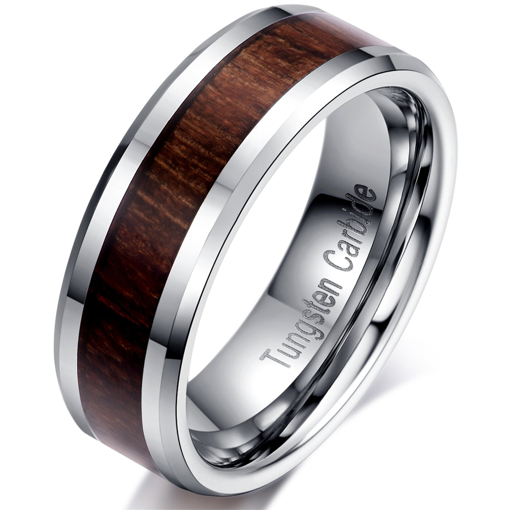 6mm Silver Tungsten Carbide Wood Inlay Men Women Vintage Wedding Ring Engagement Promise Band Comfort Fit Size 7.5