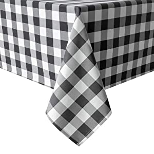 Homedocr 60 x 120 Inch Checkered Tablecloth Rectangle - Wrinkle Resistant and Spillproof Gingham Table Cloth for Party, Kitchen and Holiday Dinner, Black and White