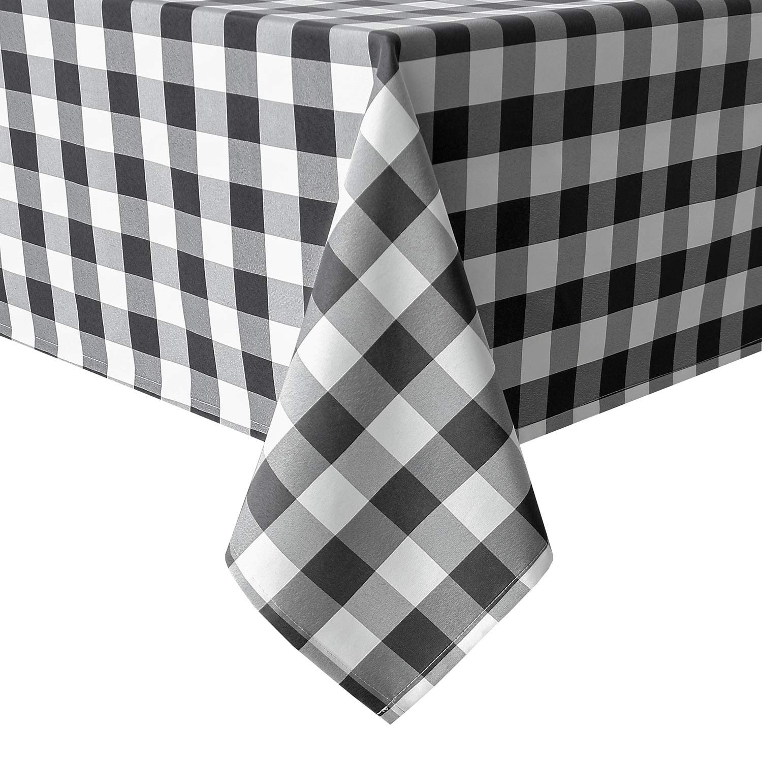 Homedocr 60 x 120 Inch Checkered Tablecloth Rectangle - Stain Resistant, Spillproof and Wahable Gingham Table Cloth for Outdoor Picnic, Kitchen and Holiday Dinner, Black and White