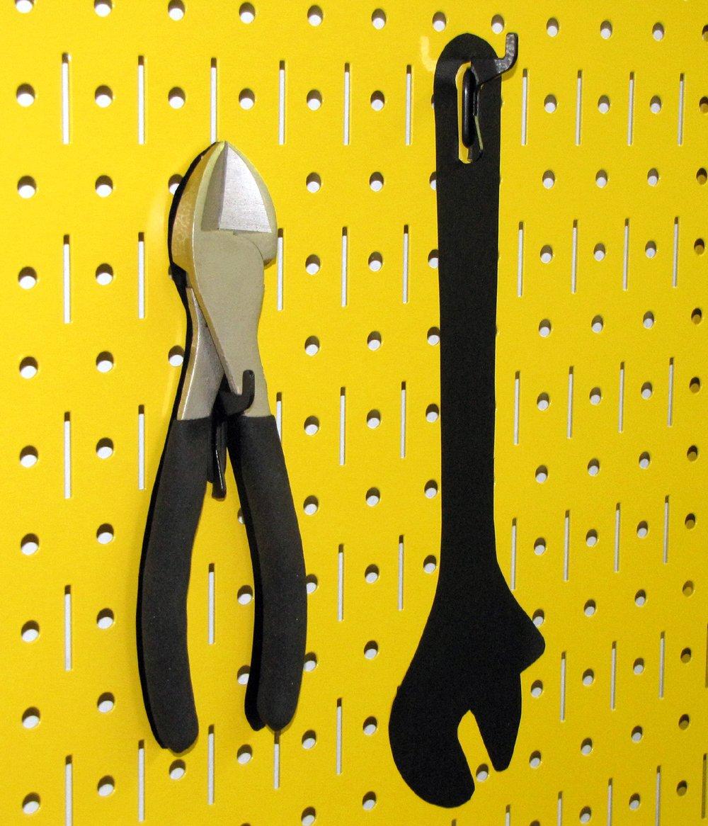 Wall Control 30-P-0832 Y Narrow 8'' x 32'' Yellow Metal Pegboard Runner Tool Board by Wall Control (Image #6)