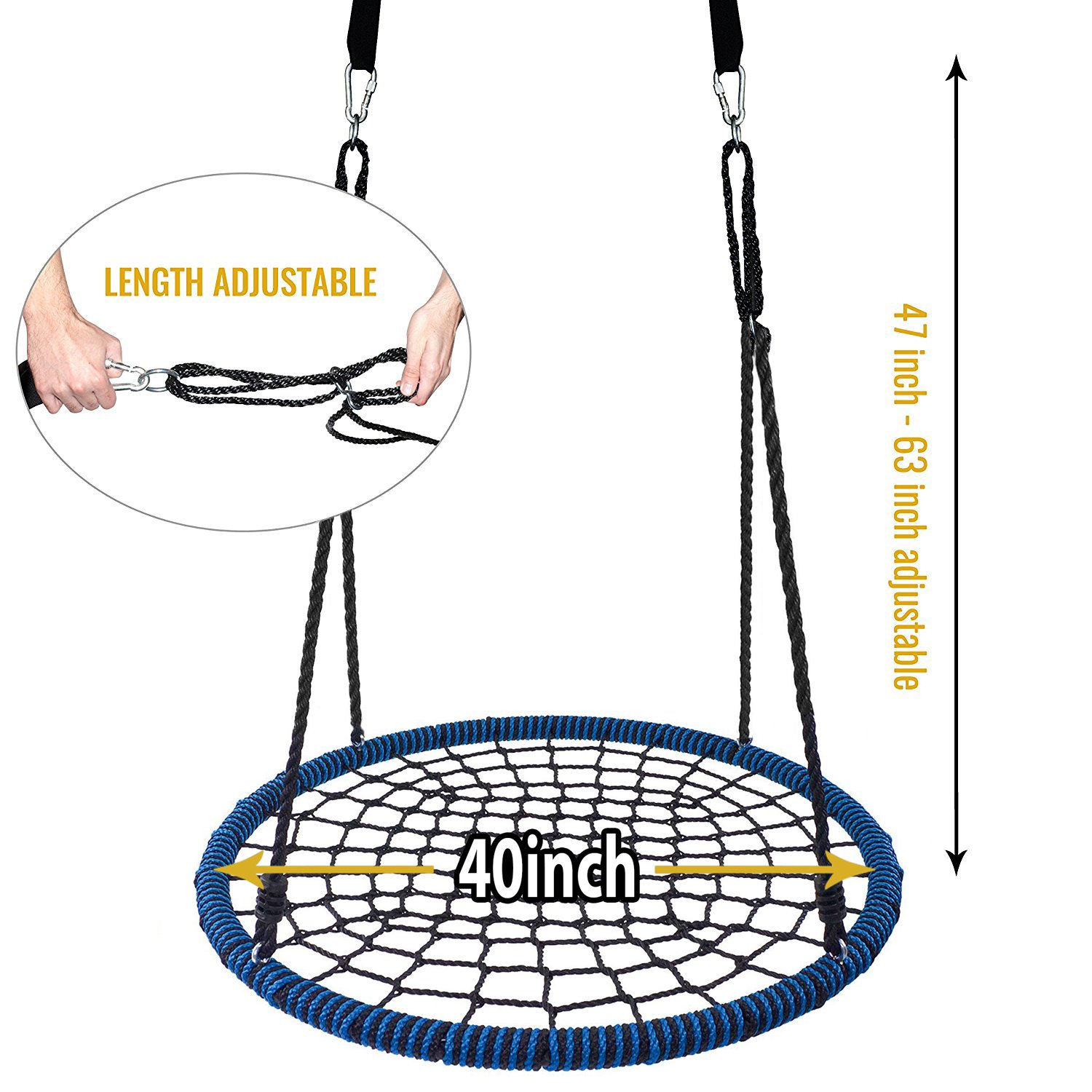 Giant 40'' Spider Web Tree Swing in Elite Blue, 600 lb Weight Capacity, Durable Steel Frame, Waterproof, Adjustable Ropes, Comes Assembled, Bonus Flag Set and 2 Carabiners, Non-Stop Fun for Kids! by Royal Oak (Image #1)
