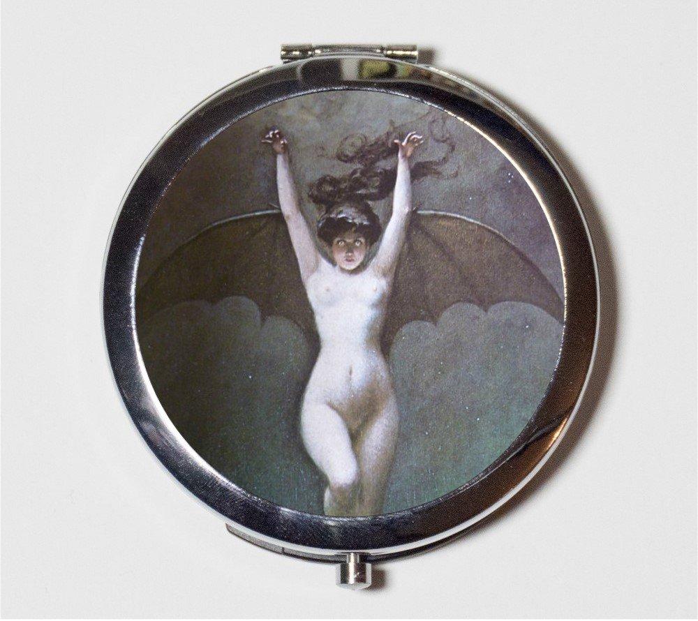 Bat Lady Compact Mirror Albert Penot Goth Edwardian Art Nouveau Woman Make Up Pocket Mirror for Cosmetics