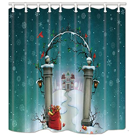 KOTOM Christmas Shower Curtains For Bathroom Cute House Full With Gift On Gate Kids