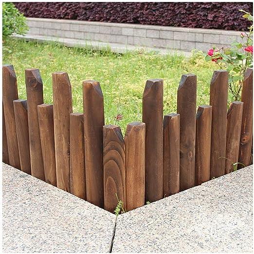 ZHANWEI Valla de jardín Bordura de jardín Madera Maciza Jardinería Cama De Flores Césped Patio Ribete Protector Decoración, 2 Estilos, 8 Tamaños (Color : B, Size : 120x20/25cm): Amazon.es: Jardín