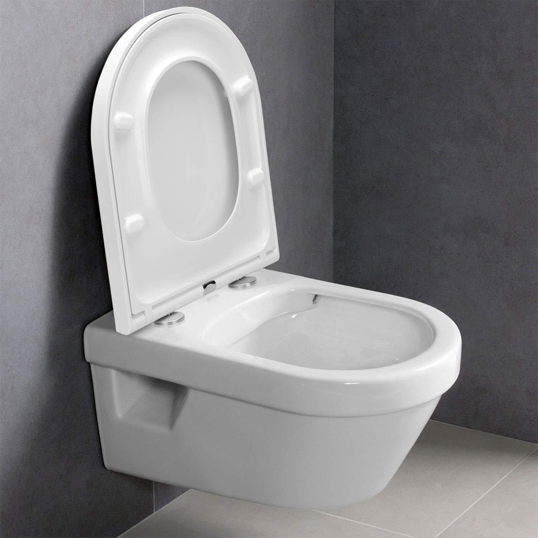 Abattant WC Lunette de Toilettes ur/ée-formald/éhyde /à fermeture en douceur avec un bouton de d/égagement rapide Mat/ériau antibact/érien en forme de O /à fixation en haut