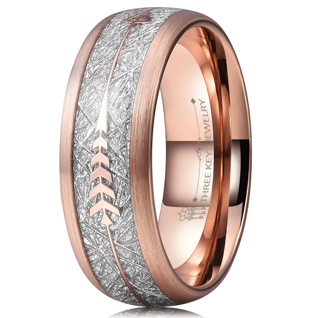 Three Keys 8mm Tungsten Wedding Ring for Men Domed Imitated Meteorite Arrows Inlay Rose Gold Mens Meteorite Wedding Band Engagement Ring Promise Ring Size 9