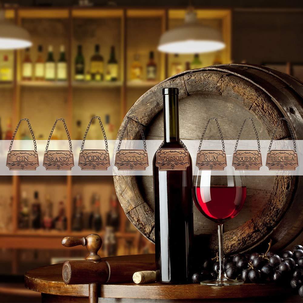 Argento DIYARTS Etichetta Decanter per Bottiglie di Vino Etichetta di Decantatore Liquore A 8 Pezzi Regolabile in Catena per Whisky Bourbon Scotch Gin Rum Vodka Tequila E Brandy