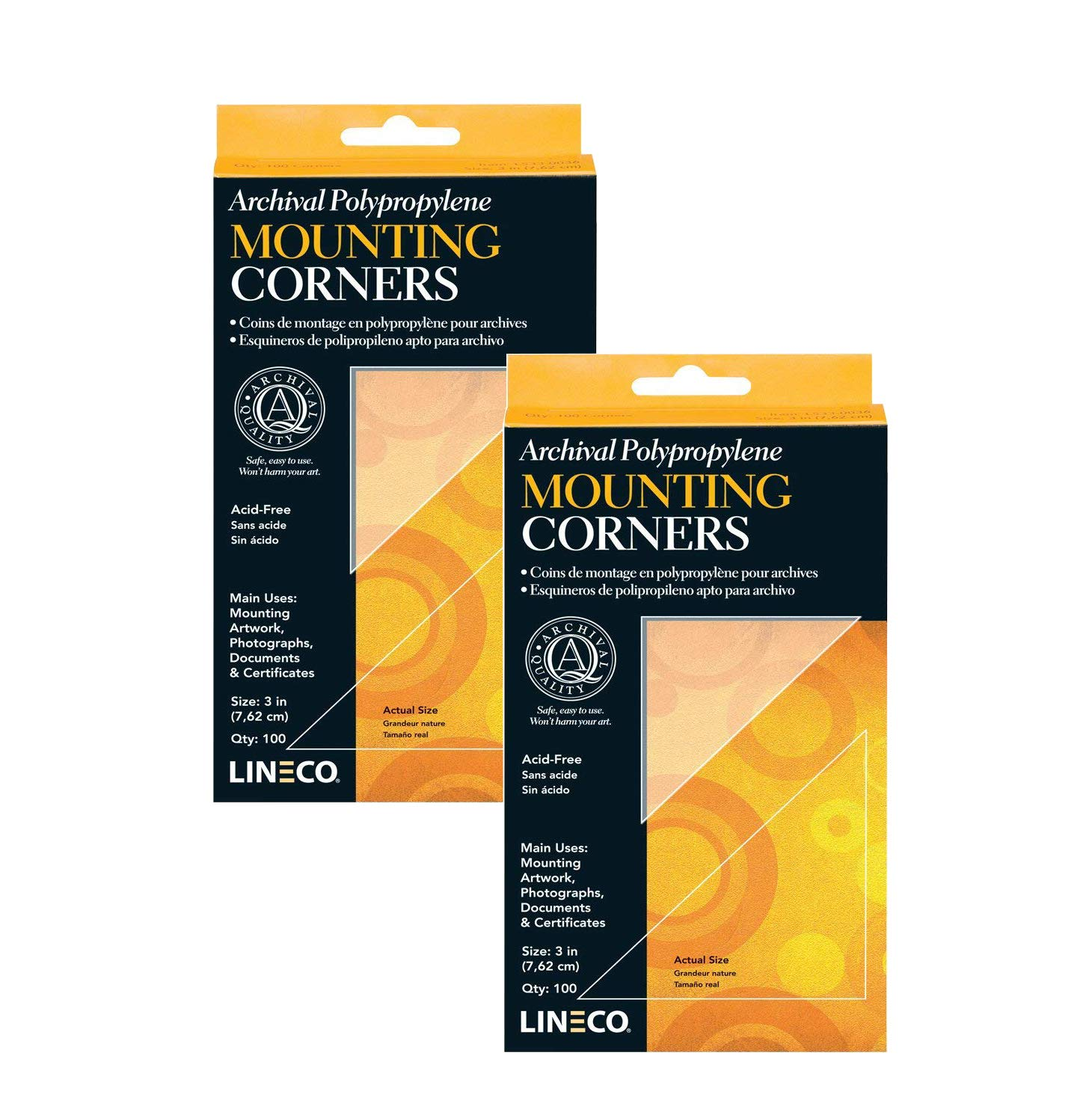 Lineco Self-Adhesive Polypropylene Mounting Corners - 3'' Clear (100/Pkg.), Pack of 2