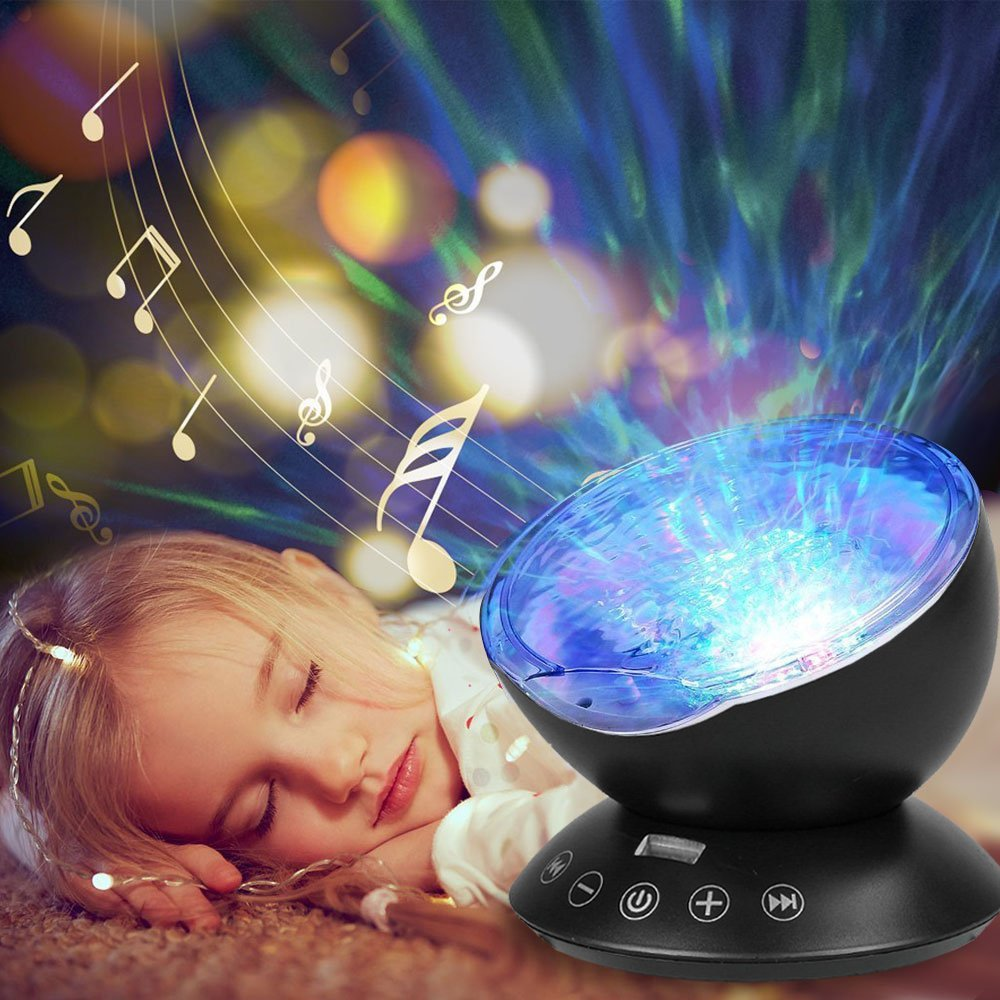 HowiseAcc Remote Control Ocean Wave Projector 12 LEDs Night Light Lamp with 7 Colorful Light Modes & Music Speaker for Kids Living Room and Bedroom HF-166B