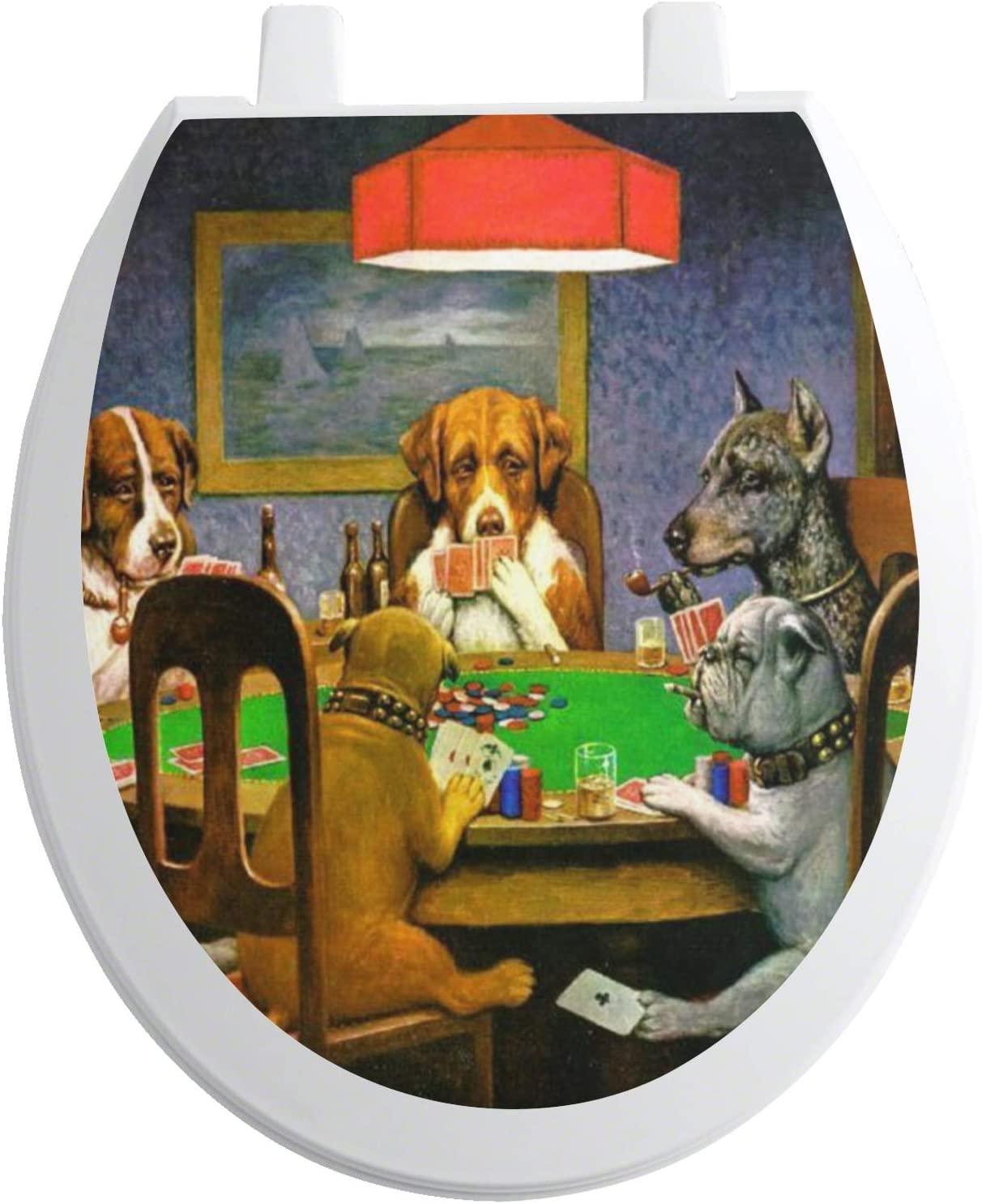 Elongated RNK Shops Dogs Playing Poker by C.M.Coolidge Toilet Seat Decal