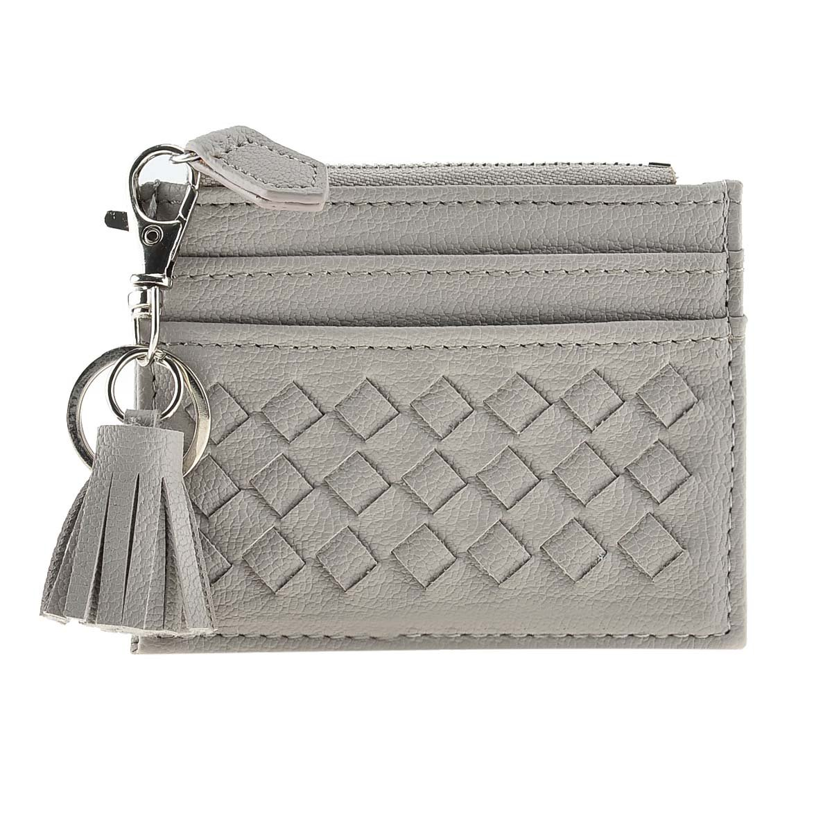 RFID Blocking Genuine Leather Compact Card Wallet Credit Card Case Organizer with Key Ring (Grey)