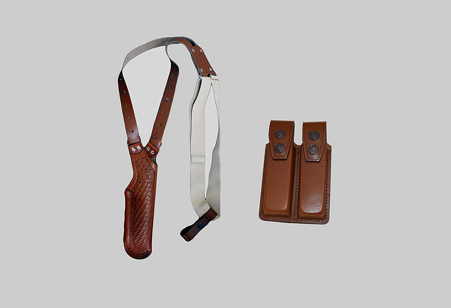 ALIS40006 Basketweave Vertical Gun Shoulder Holster & Double Magazine Pouch for Beretta Taurus CZ 75 Browning HP Sig Sauer P226 Handmade!