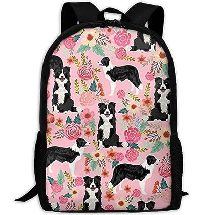 Amazon.com - Border Collie Florals Cute Pink FlowersCollege Bookbag ... 85d7b4be123d1