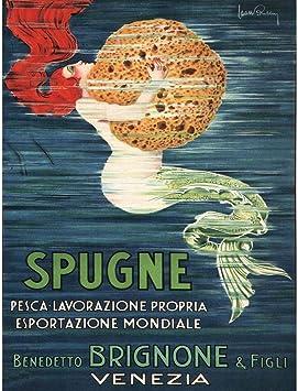 SPONGE MERMAID VENICE ITALY BRIGNONE BROTHERS Vintage Canvas art Prints