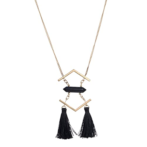 f8b727c446fa2 Fettero Women Vintage Tassel Necklace Pendant Long Chain 14K Gold Plated  Statement Handmade Jewelry