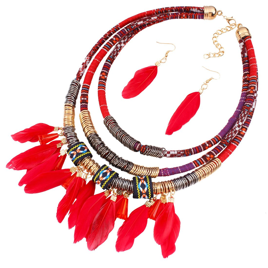 Zaki L'vow Vintage Feather Pendant Multi Layers Tribal Bib Necklace Statement Earring Jewelry Set ne-1