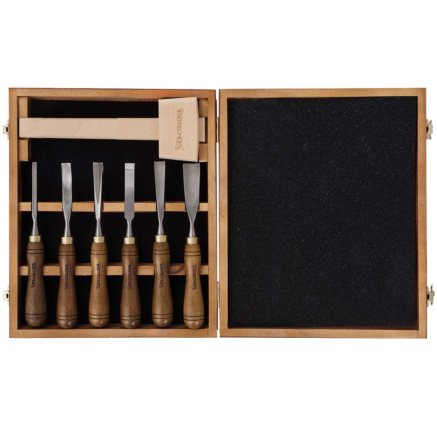 IMOTECHOM 7-Pieces Woodworking Wood Carving Tools Chisel Set with Walnut Handle, Beech Wood Mallet Hammer, Wooden Storage Case by IMOTECHOM
