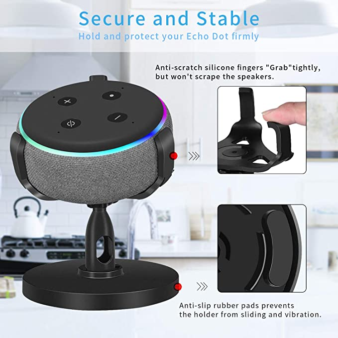 kein ged/ämpftes platzsparendes Punktzubeh/ör Tischhalter f/ür Echo Dot St/änder der 3 Generation,Echo dot 3 zubeh/ör,um 360 /° verstellbare Halterung f/ür Smart Home-Lautsprecher