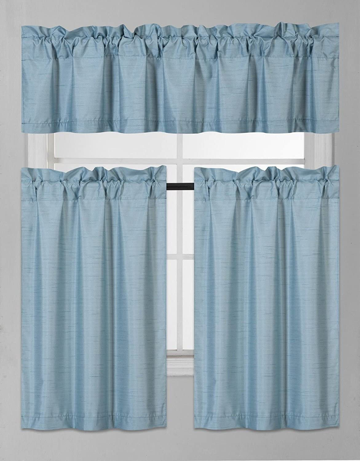 Elegant Home Collection 3 Piece Solid Color Faux Silk Blackout Kitchen Window Curtain Set with Tiers and Valance Solid Color Lined Thermal Blackout Drape Window Treatment Set #K3 (Teal Blue)
