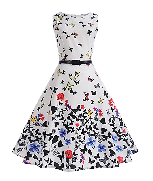 Vestidos De Fiesta Para Bodas Mujer Elegantes Vestido De Noche Coctel Años 50 Vintage Audrey Hepburn Mariposa Impresión Sin Mangas Cuello Redondo Bonita ...