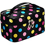 Portable Cute Small Travel Colorful Mirror Makeup Bag Cosmetic Organizer Tote Bag For Kids Women Toddler Teens Little Girls
