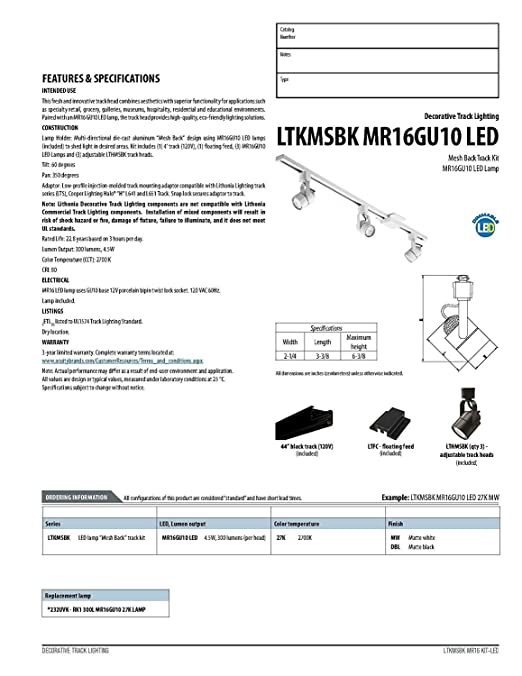 Amazon lithonia lighting ltkmsbk mr16gu10 led 27k mw m4 3 light amazon lithonia lighting ltkmsbk mr16gu10 led 27k mw m4 3 light led mesh back track lighting kit 445 white home improvement aloadofball Images