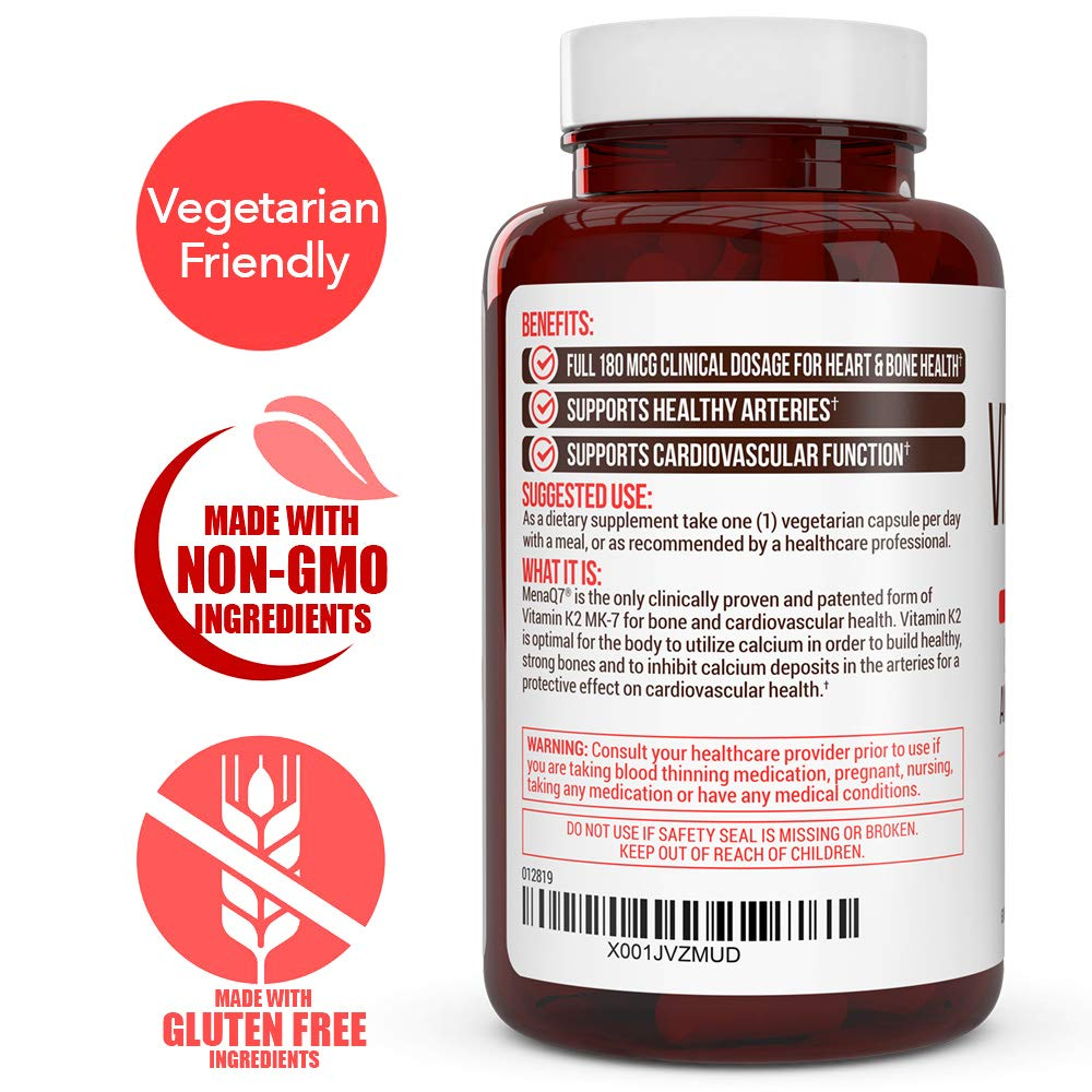 Extra Strength Vitamin K2 Supplement 180mcg - Vitamin k2 Supplement Supports Bone & Heart Health for Cardiovascular Calcium Absorption - 60 Easy to Swallow Vegan caps of Vitamin K2 MK7 (3 Pack) by Truevantage Nutrition (Image #3)