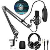 Neewer USB Microphone Kit 25mm Large Capsule 192KHz/24Bit Plug&Play Condenser Mic (Black) with Monitor Headphones, Foam…