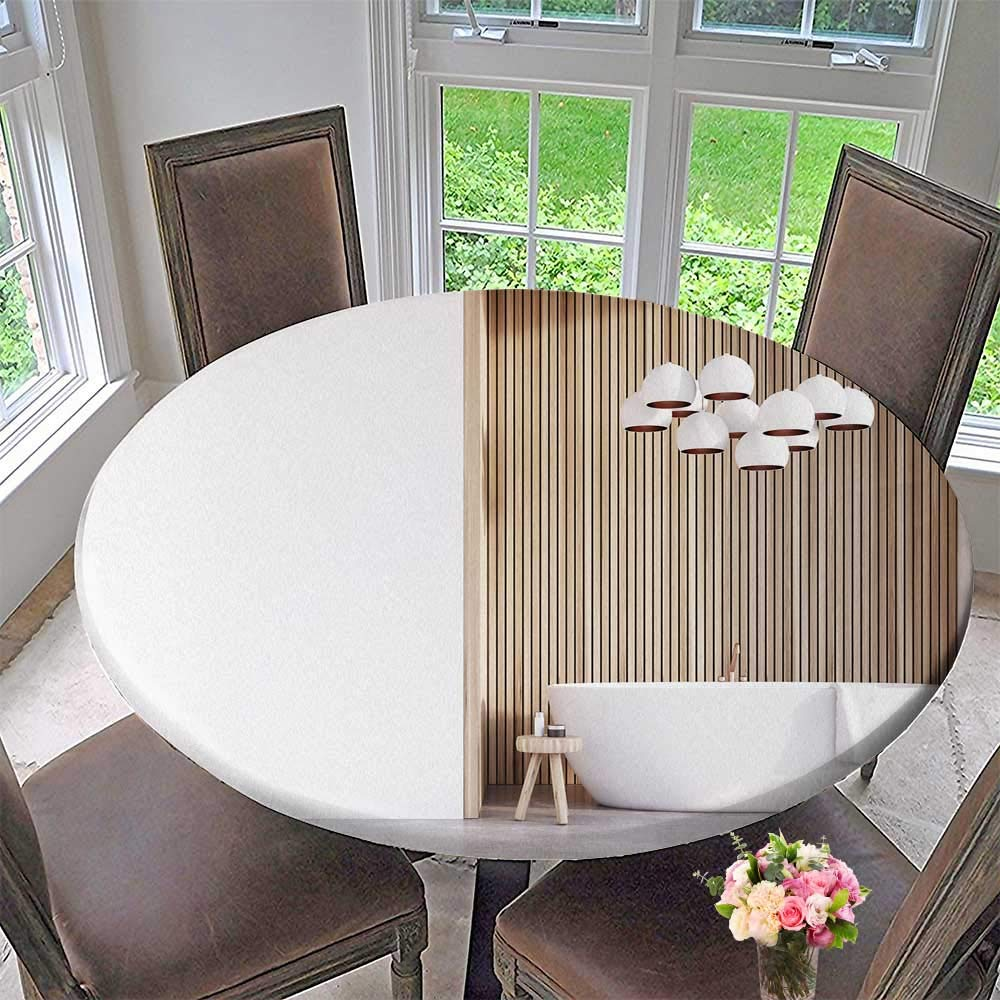 Stupendous Amazon Com Pinafore Home Round Premium Table Cloth Bathroom Gmtry Best Dining Table And Chair Ideas Images Gmtryco