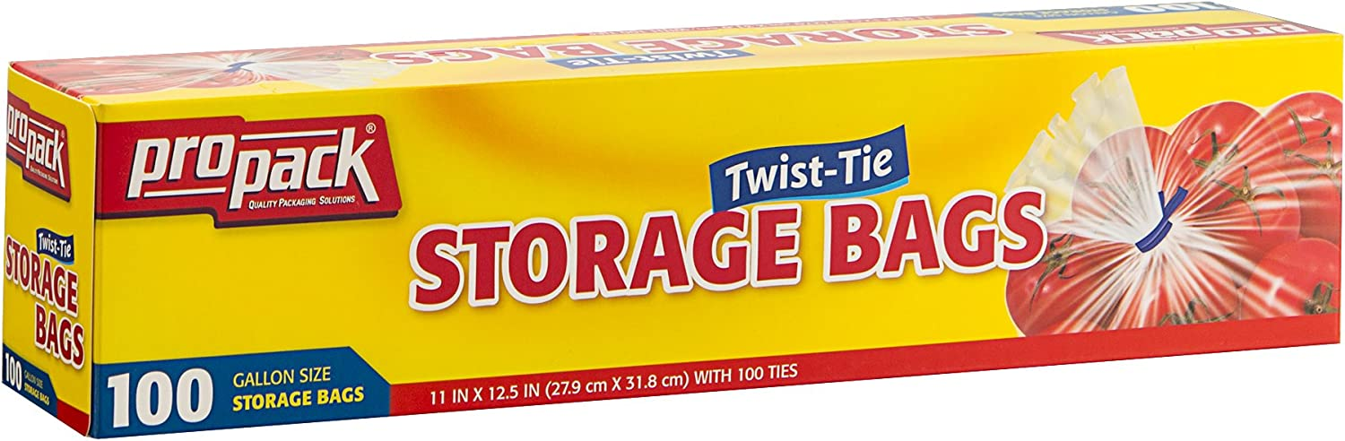 ProPack Disposable Plastic Storage Bags with Original Twist Tie, 1 Gallon Size, 100 Bags, Great for Home, Office, Vacation, Traveling, Sandwich, Fruits, Nuts, Cake, Cookies, Or Any Snacks (1 Packs)