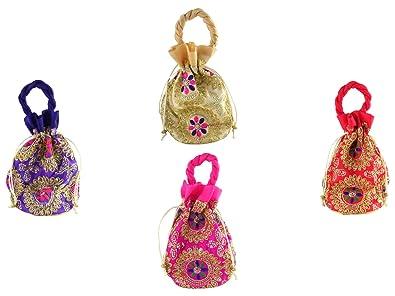 GoldGiftIdes Flower Zari Embroidered Indian Potli bags for Women ... 516999d8533a1